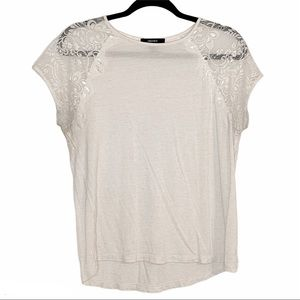 FOREVER 21| Cream Lace Sleeve Burnout T-Shirt M